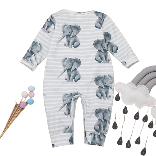 Baby Rompers  long sleeve  Elephant Cotton Jumpsuit