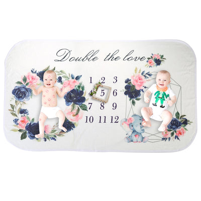 Twins Floral Milestone Blanket - TadaBaby