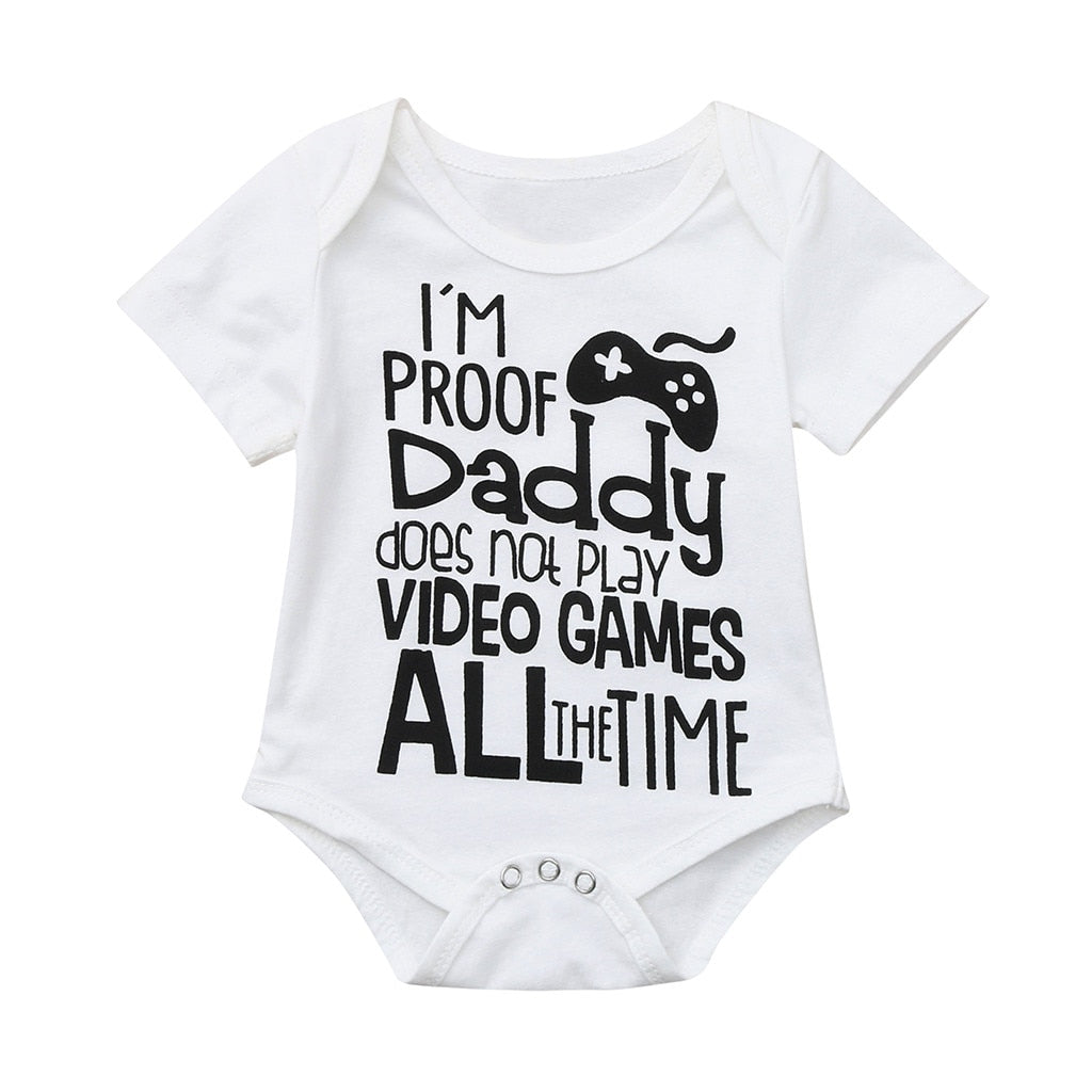 Newborn Baby cotton Short Sleeve Letter Romper - TadaBaby