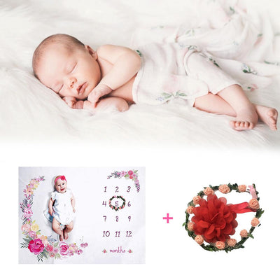 Flower Background Photography Monthly Growth Milestone - TadaBaby