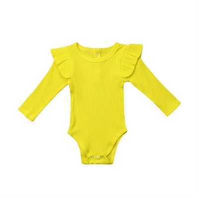 Baby/Toddler Long Sleeve Ruched Solid Romper - TadaBaby