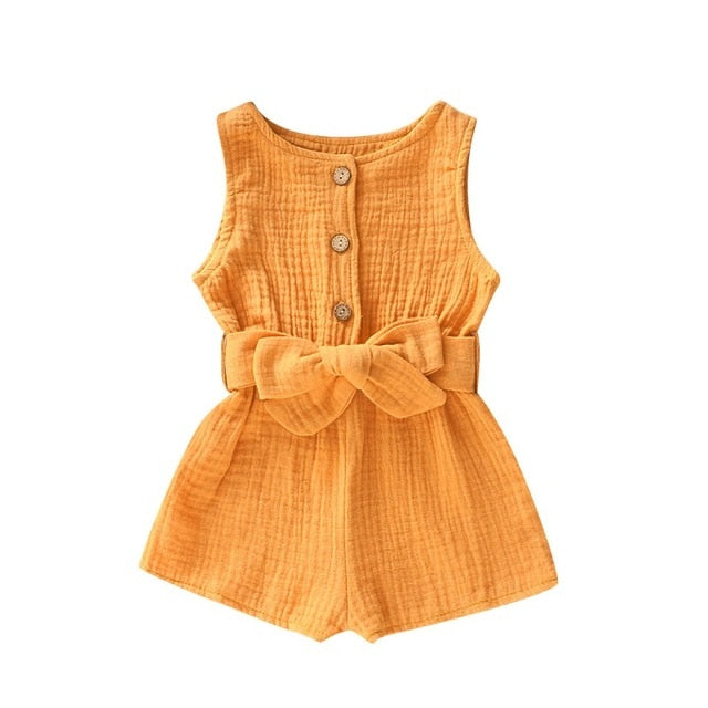 Baby Girl Solid Romper Jumpsuit with a bow belt - TadaBaby