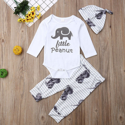 Elephant Print Romper Body suit+Long Pants+Hat Outfits Set - TadaBaby