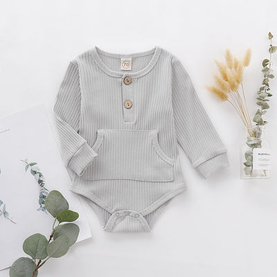 1PC Infant Baby Rompers Long Sleeve Pocket Design