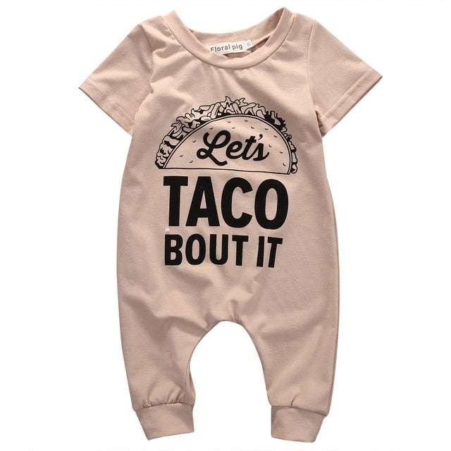 Baby Boys Girls Short Sleeve Letter Cotton Casual Romper Jumpsuit
