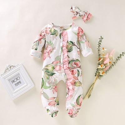 Newborn onesie  Footed Sleeper Romper with Headband - TadaBaby