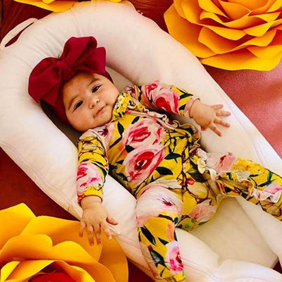 Newborn onesie  Footed Sleeper Romper with Headband