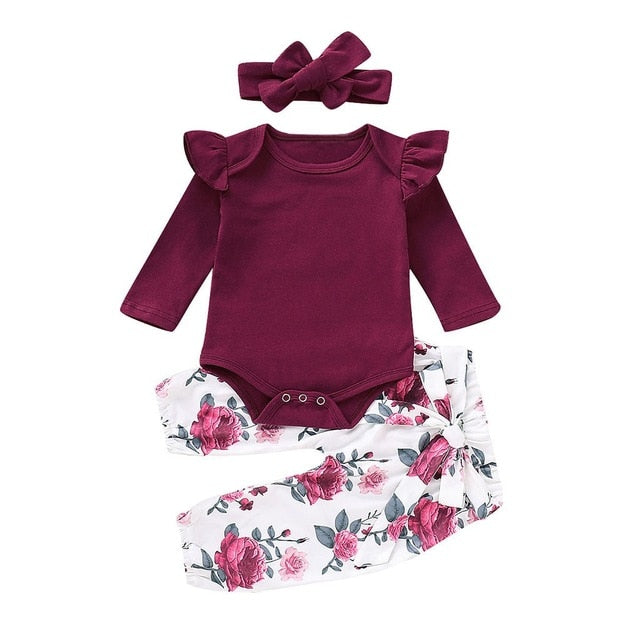 Floral Set  Long Sleeves Top With pants and Headband - TadaBaby