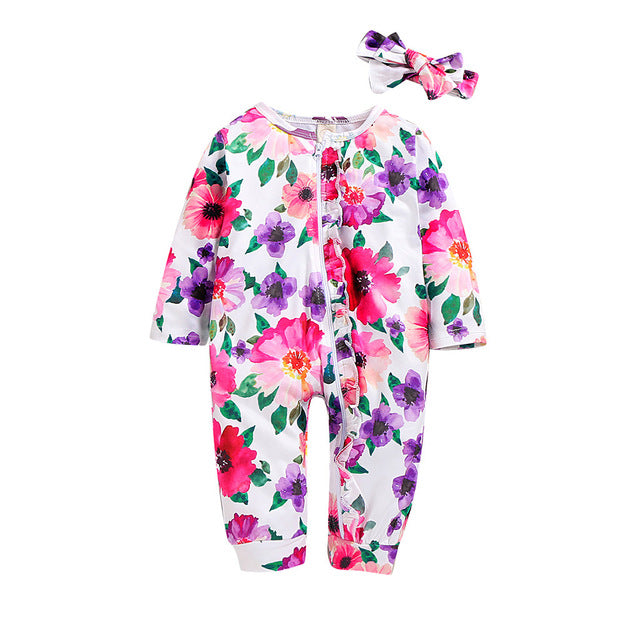 Long Sleeve Floral Print Jumpsuit with matching Headband - TadaBaby