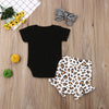 Baby Girls Romper Jumpsuit Outfit Leopard Print with head bow - TadaBaby