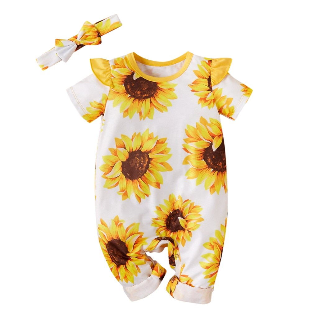 Baby Sunflower Printed Onsie + Headbands Outfit - TadaBaby