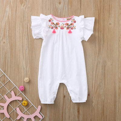 Embroidered Robe Baby Sleeveless Flying Sleeve Flower Print - TadaBaby