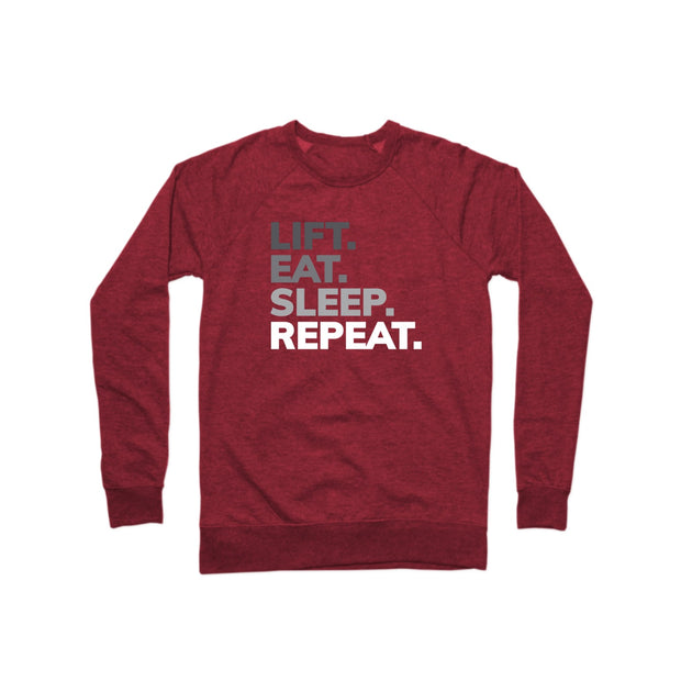 SWEATGOODS Lift Eat Sleep Repeat French Terry Crew - Unisex