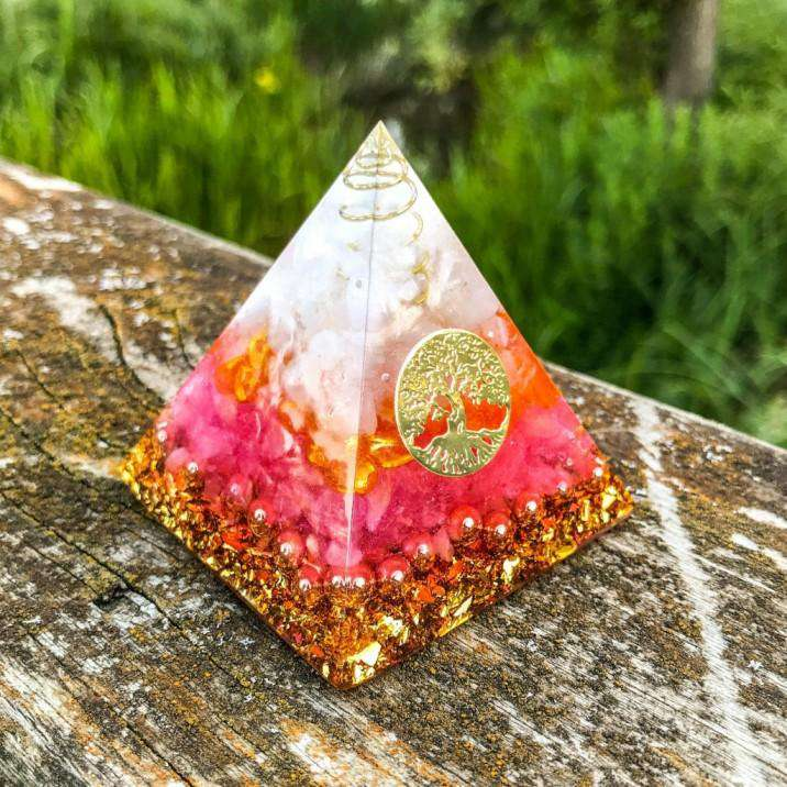 Orgone Pyramid for Positivity with Rose Quartz and White Quartz