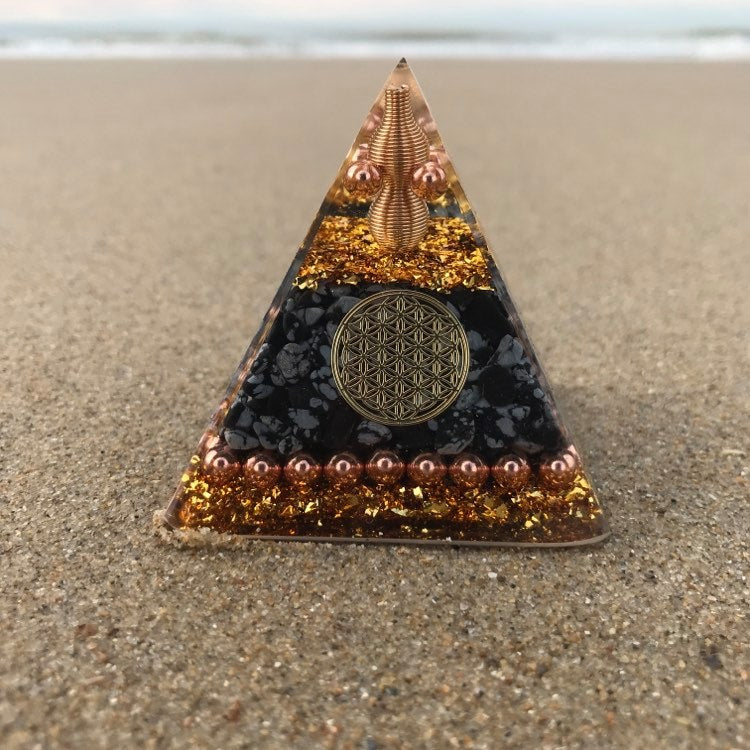 Orgone Pyramid with Snowflake Obsidian