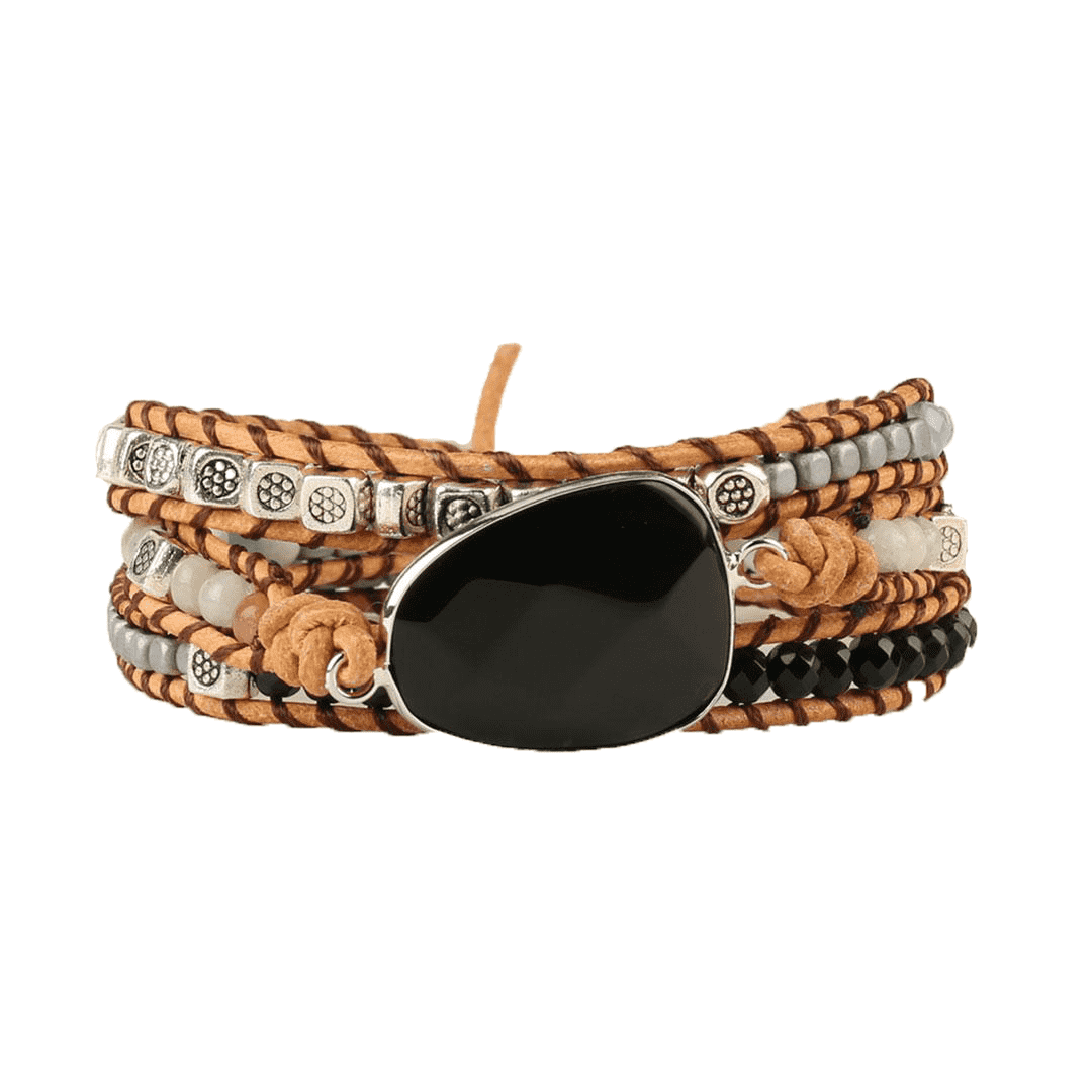 Leather Wrap Bracelet for Grounding - Black Agate