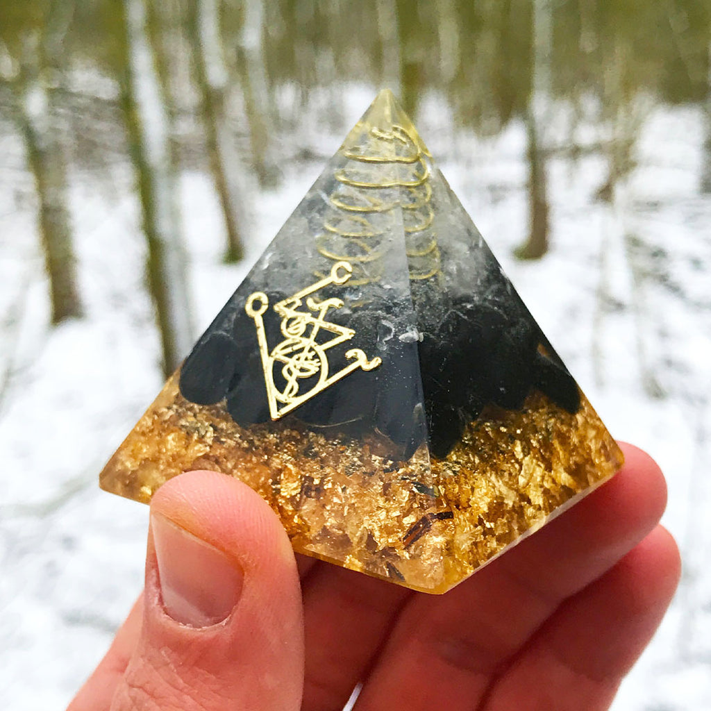 Orgone Pyramid for Protection with Obsidian