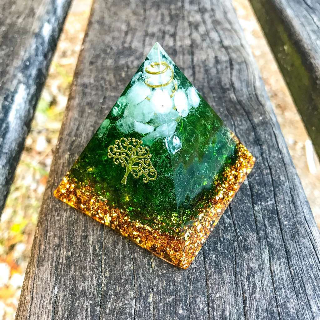 Orgone Pyramid for Fortune with Jade Stone