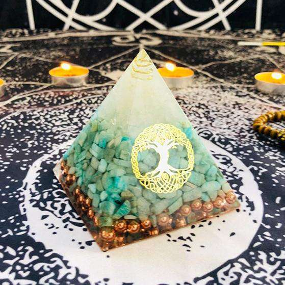 Orgone Pyramid for Courage with Aventurine Crystal