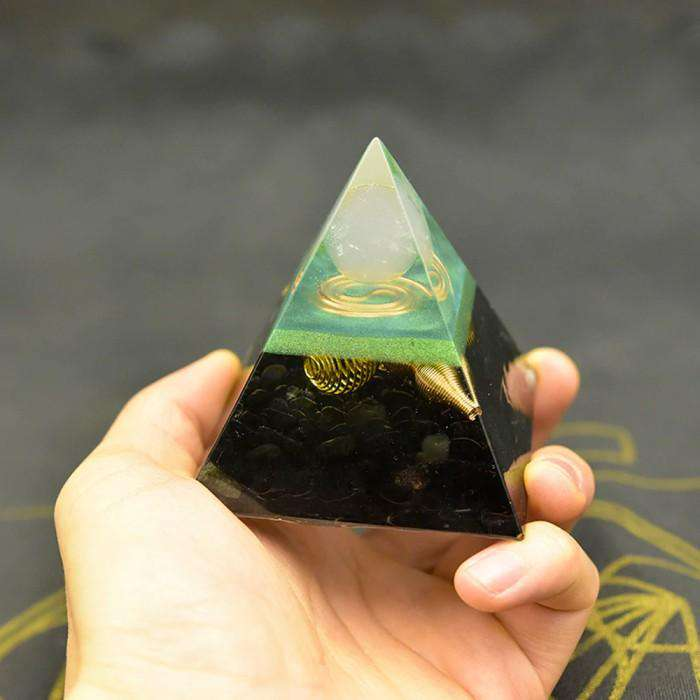 Orgone Pyramid for Grounding & Stability with Black Agate