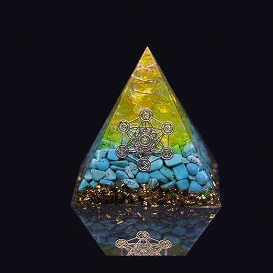 Orgone Pyramid for Positive Outlook with Turquoise Crystal