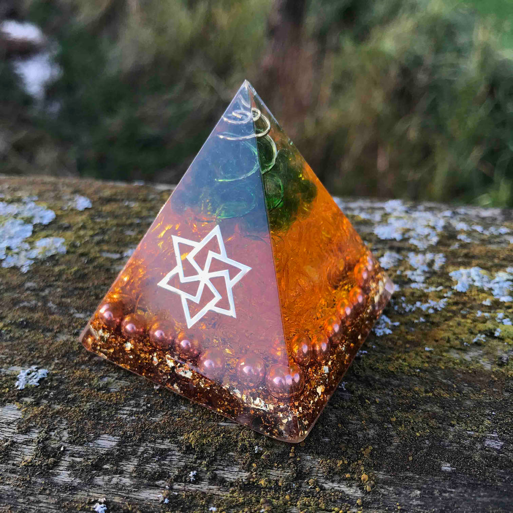 Orgone Pyramid for Limitless Potential with Citrine and Jade Stone