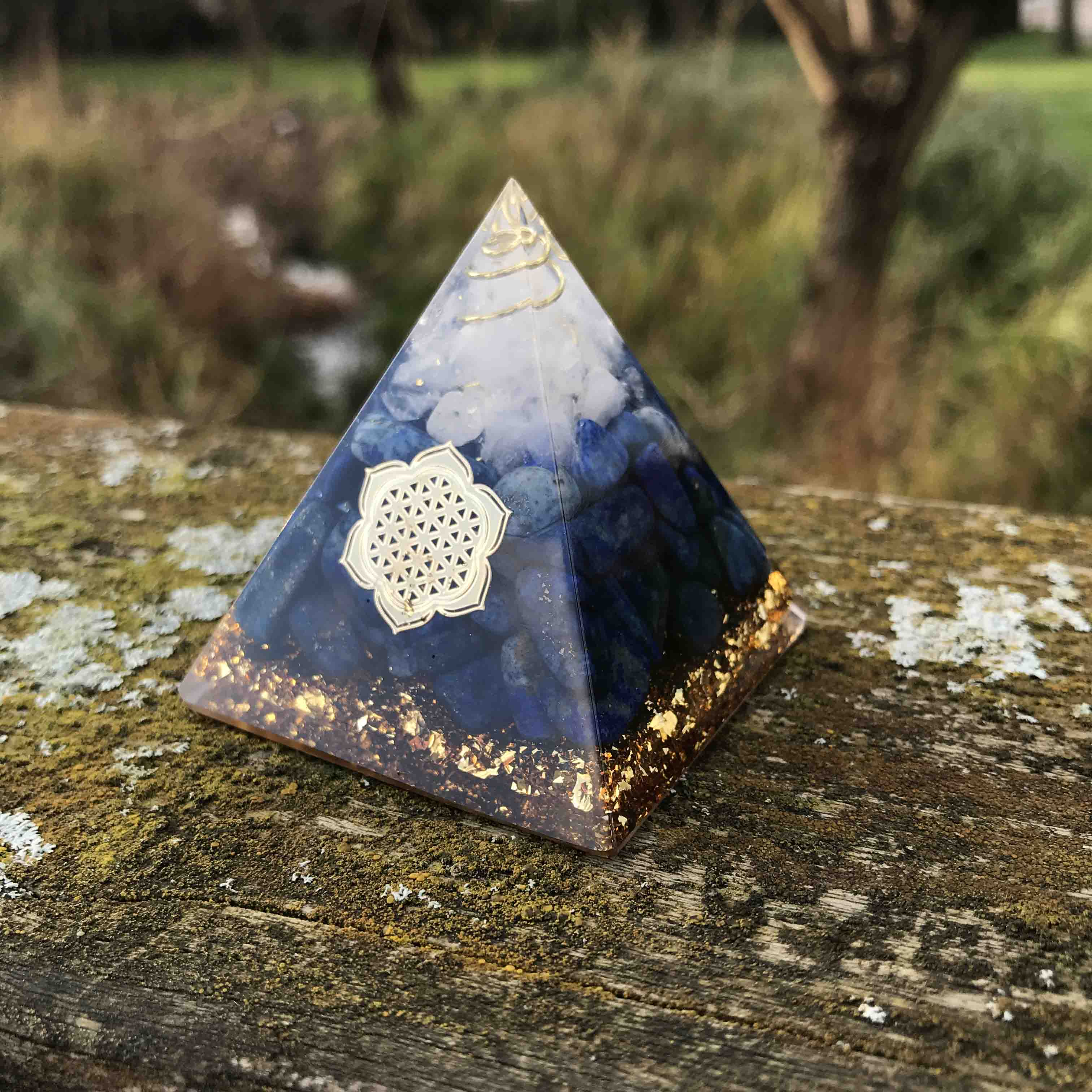 Orgonite Pyramid with Lapis Lazuli and Clear Quartz