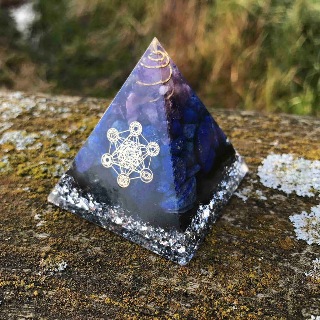 Orgone Pyramid for Sharp Mind with Obsidian, Amethyst and Lapis Lazuli