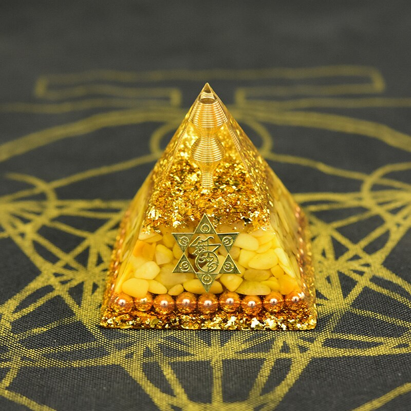Orgone Pyramid for Relaxation with Yellow Aventurine Crystal