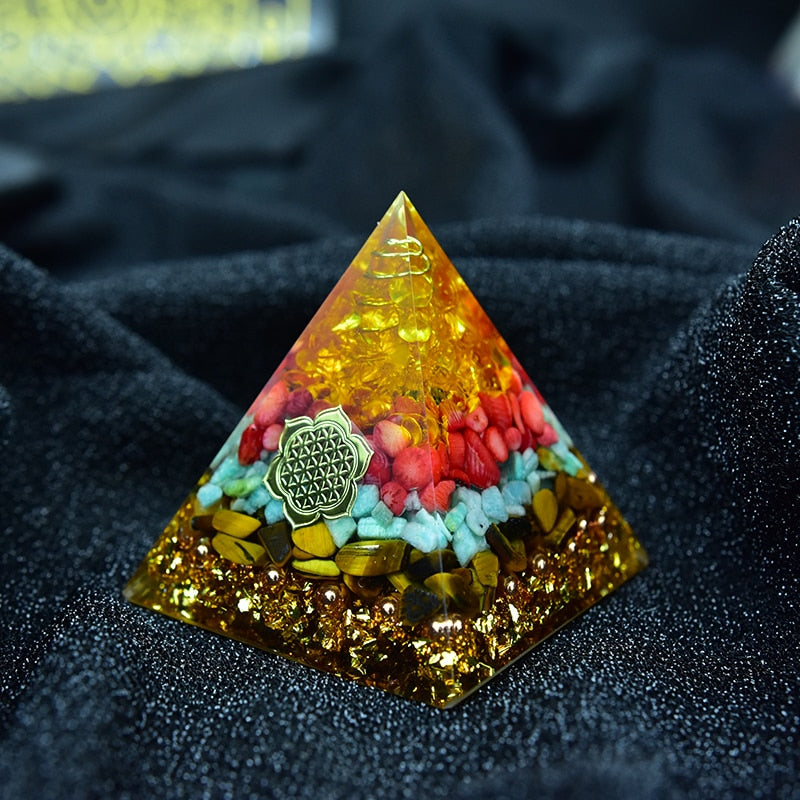 Orgone Pyramid With Red Coral, Aventurine, Citrine and Tiger Eye