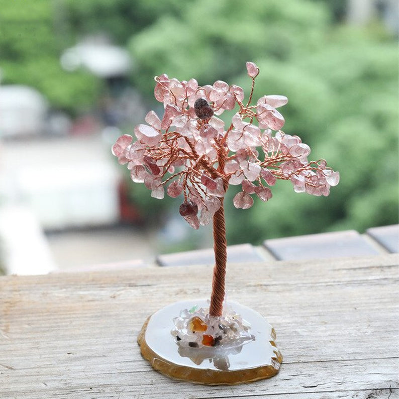 Crystal Tree for Soothing Energy - Strawberry Quartz