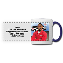 Load image into Gallery viewer, Nana The Car Salesman Mug - white/cobalt blue