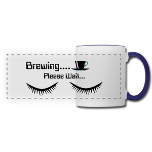 Brewing please wait Mug - white/cobalt blue