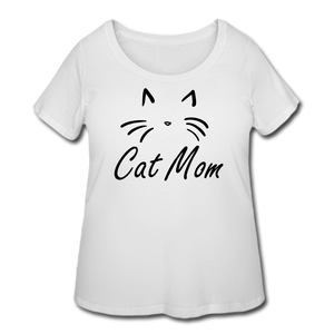 Cat Mom T-Shirt (Curvy) - White - white