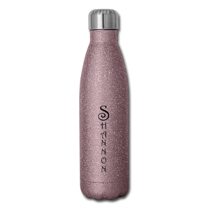 Insulated Stainless Steel Water Bottle Personalized - pink glitter