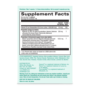 Image of supplement facts for Unwind