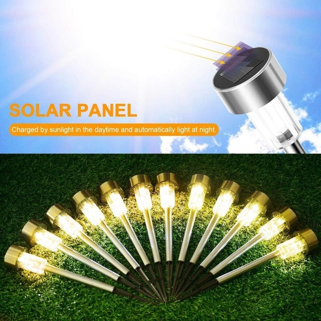 LED Solar Garden Lights Outdoor Solar Powered Lamp Lantern Waterproof Landscape Lighting  For Pathway Patio Yard Lawn Decoration
