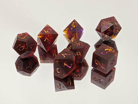 B Grade Dragon's Blood Duskfall 7 Piece Tabletop Dice Set