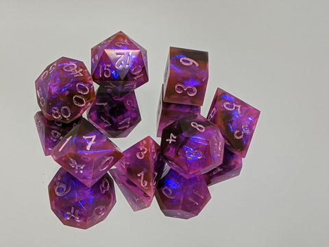 B Grade Flower Dragonsoul Opals 7 Piece Dice Set