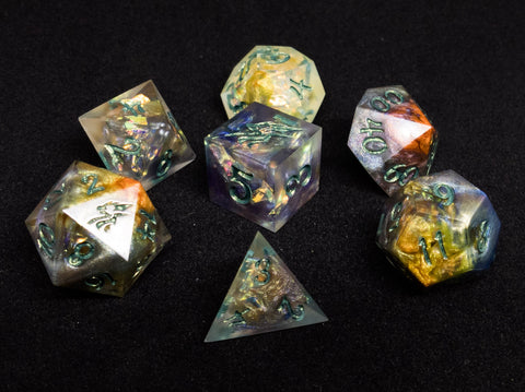 Life Dragonsoul Opals 7 piece d20 tabletop gaming dice set