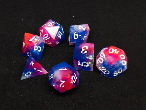 Ooak Dragonsoul Opals d20 7 piece gaming dice set