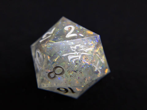 Radiance Dragonsoul Opal chonky single d20 tabletop gaming die