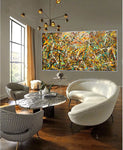 Painting Art Vintage Style Jackson Pollock large wall art on Canvas Rustic Decor for Luxury Homes - Vintage Beauty 126 - LargeModernArt