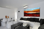 Large Ocean Art Oil Painting on Canvas - Modern Wall Art Seascape - A Calm Sunset - LargeModernArt