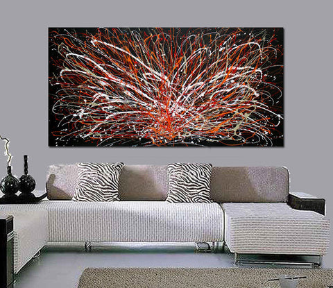 Jackson Pollock Style Oil Painting For Luxury homes - Abstract Art 109 - LargeModernArt