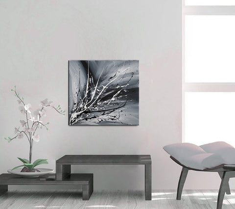 Black White Painting On Canvas Original Artwork For Sale, Modern Interior Decor - Unreal Beauty 3 - LargeModernArt