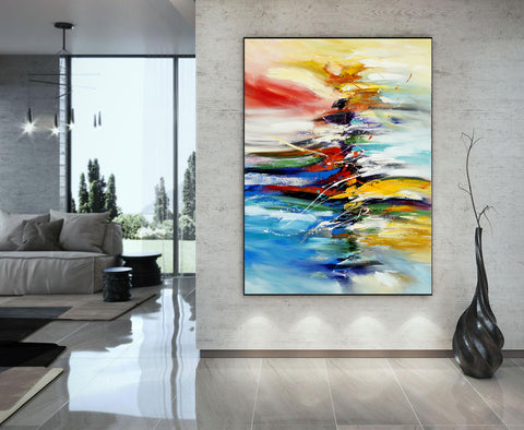 Large Modern Art Oil Painting on Canvas Modern Wall Art - Amazing Abstract 13 - LargeModernArt