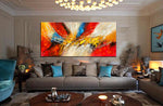 Abstract Modern art Original Paintings for Sale Teal color - Abstract Art 89 - LargeModernArt