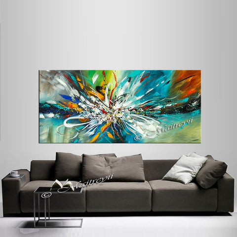 Abstract Modern Art Oil Painting on Canvas Amazing Abstract Gold Flow Painting - Amazing Abstract 9 - LargeModernArt