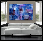 Original Abstract Painting Canvas Wall Art, Blue Texture Abstract Canvas - LargeModernArt